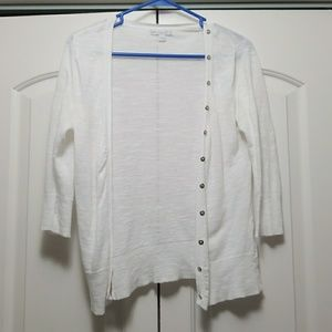 Women's White Button Cardigan